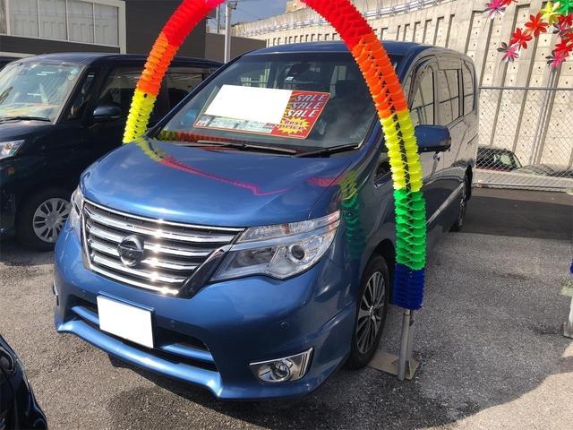 沖縄県の中古車ならセレナ ハイウェイスター S-ハイブリッド 後席モニター アラウンドビューモニター 両側電動スライドドア TV・DVD視聴 Bluetooth アルミホイル