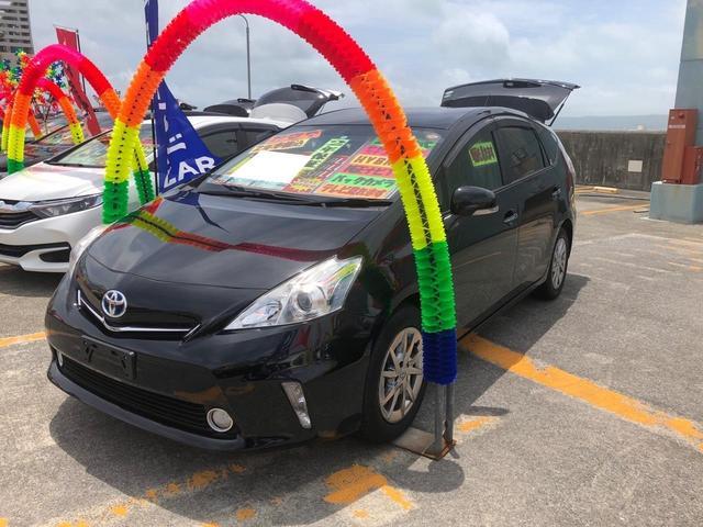 沖縄県の中古車ならプリウスアルファ S チューン ブラック バックカメラ Bluetooth TV・DVD視聴 ステアリングスイッチ アルミホイル