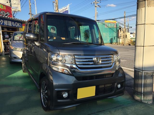 沖縄県の中古車ならN-BOXカスタム G・ターボパッケージ フルセグTV・ナビ 両側パワースライド