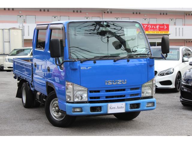 沖縄県の中古車ならエルフトラック Wキャブフラットロー Wキャブジャストロー ワンオーナー ETC フォグランプ アイドリングストップ 集中ドアロック ABS スマートキー 取扱説明書付