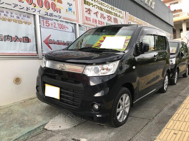 沖縄の中古車 スズキ ワゴンRスティングレー 車両価格 48万円 リ済込 2013(平成25)年 11.9万km ブルーイッシュブラックパール3