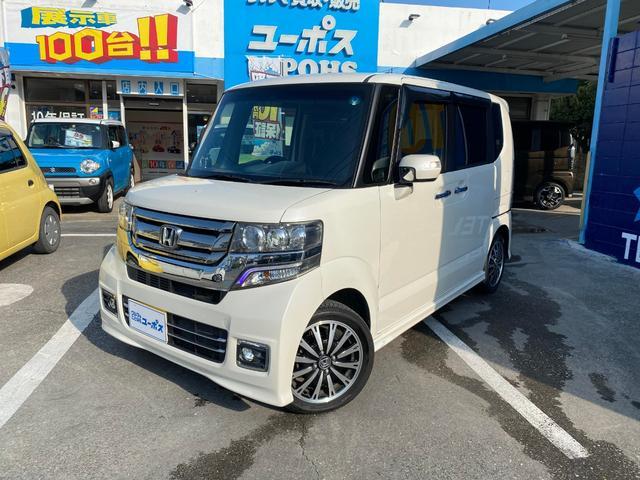 沖縄県の中古車ならN-BOXカスタム G・ターボLパッケージ OP10年保証対象車 SDナビ/CD/DVD/Bluetooth機能 両側パワースライドドア 純正15インチアルミホイール