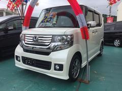 沖縄の中古車 ホンダ N BOXカスタム 車両価格 124万円 リ済込 平成25年 3.3万K パールホワイト