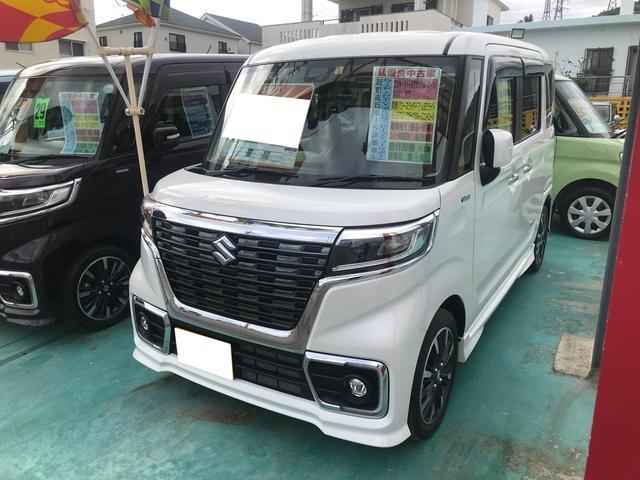 沖縄の中古車 スズキ スペーシアカスタム 車両価格 196万円 リ済込 2019年 7km パールホワイト