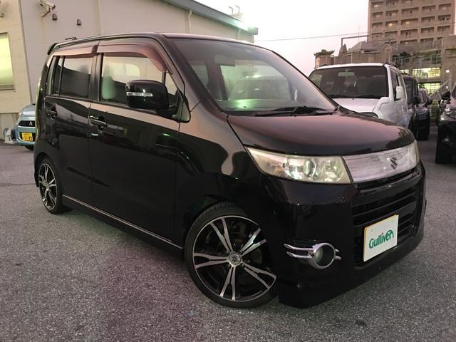 沖縄県の中古車ならワゴンRスティングレー T プッシュスタート スマートキー ターボ車 モニター付きオーディオ 社外AW HIDヘッドライト サイドバイザー