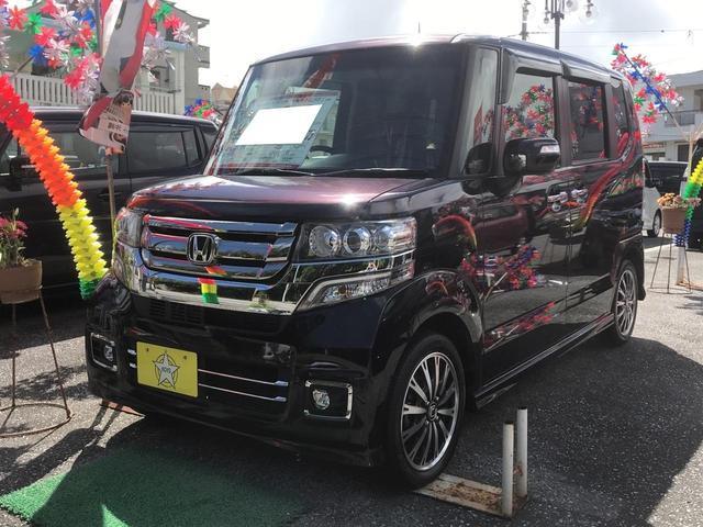 沖縄県の中古車ならN-BOXカスタム G・ターボLパッケージ 両側パワースライドドア パドルシフト