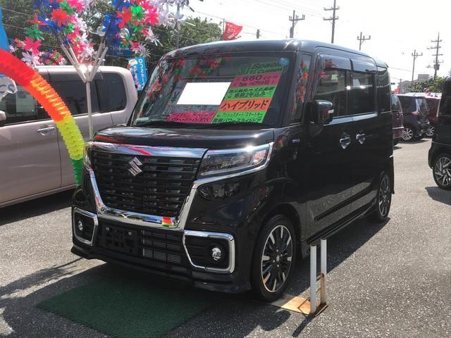 沖縄県の中古車ならスペーシアカスタム ハイブリッドXS コーナーセンサー ETC 緊急ブレーキ