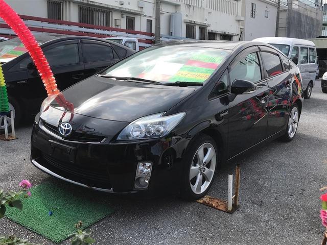 沖縄の中古車 トヨタ プリウス 車両価格 96万円 リ済込 2011(平成23)年 7.4万km ブラック