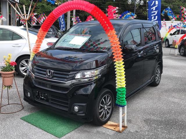 沖縄の中古車 ホンダ N-WGNカスタム 車両価格 93万円 リ済込 2016(平成28)年 4.6万km ブラックM