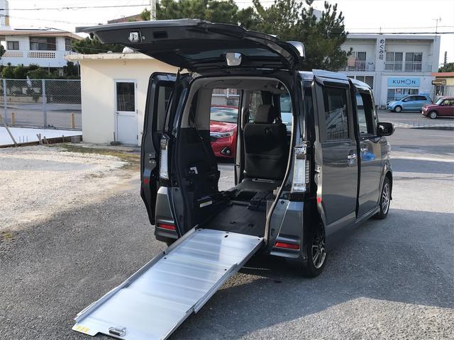 沖縄県の中古車ならN-BOX+カスタム G 福祉車両 後部スローパー 車椅子1基載 スマートキー ナビTV DVD再生 バックモニター 両側スライドドア ETC ベンチシート