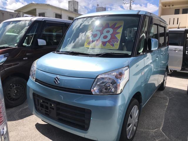 沖縄の中古車 スズキ スペーシア 車両価格 55万円 リ済込 2013(平成25)年 10.4万km フォレストアクアメタリック