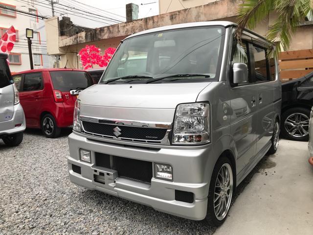 沖縄県の中古車ならエブリイワゴン PZターボ キーレス 左パワースライドドア スズキSPORTSグリル 社外16インチアルミ ナビ TV