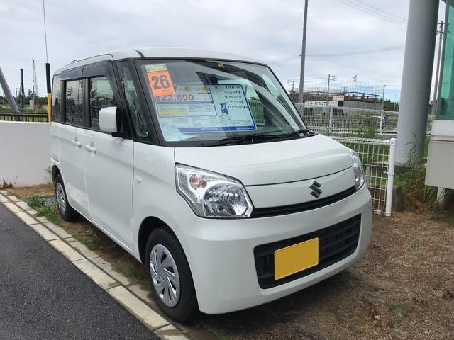 沖縄の中古車 スズキ スペーシア 車両価格 95万円 リ済別 平成26年 2.2万km ホワイト