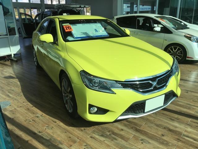沖縄の中古車 トヨタ マークX 車両価格 145.8万円 リ済別 平成26年 5.3万km イエロー