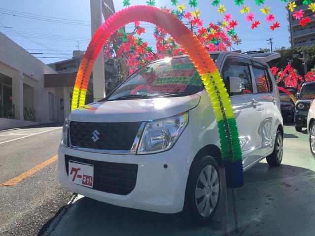 沖縄県の中古車ならワゴンR FX エコアイドル・インパネCVT・社外SDナビ・前後コーナーセンサー付き・ドライブレコーダー搭載・ETC付き・オートエアコン・電動格納ドアミラー・シートヒーター・ライトレベライザー・キーレスエントリー