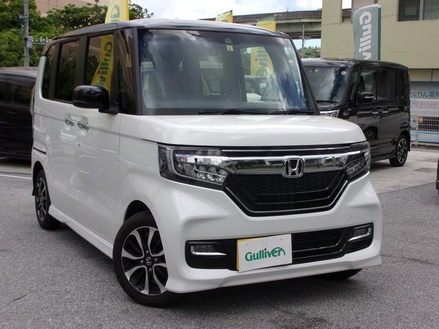 沖縄県の中古車ならN-BOXカスタム G・Lホンダセンシング クルーズコントロール・レーンキープアシスト・オートライト・両側パワースライドドア・コーナセンサー・Bluetooth・ETC・バックカメラ・LEDヘッドランプ・電動格納ミラー・シートヒーター