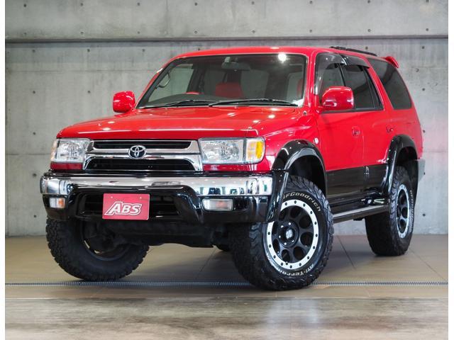 沖縄県の中古車ならハイラックスサーフ SSR-X 新品パーツ BFタイヤ リフトUP Xストリーム17AW 前後メッキバンパー サンルーフ 赤シートカバー 外ハンドル USヘッド 外テール マフラー