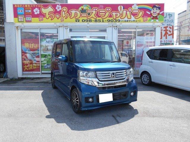 沖縄の中古車 ホンダ N-BOXカスタム 車両価格 99.8万円 リ済込 2013(平成25)年 5.0万km ブルー