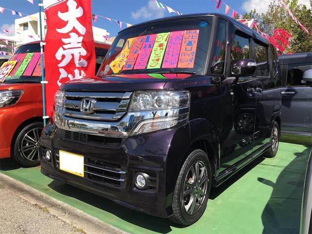 沖縄の中古車 ホンダ N-BOXカスタム 車両価格 98万円 リ済別 2015(平成27)年 8.0万km プレミアムベルベットパープルパールII