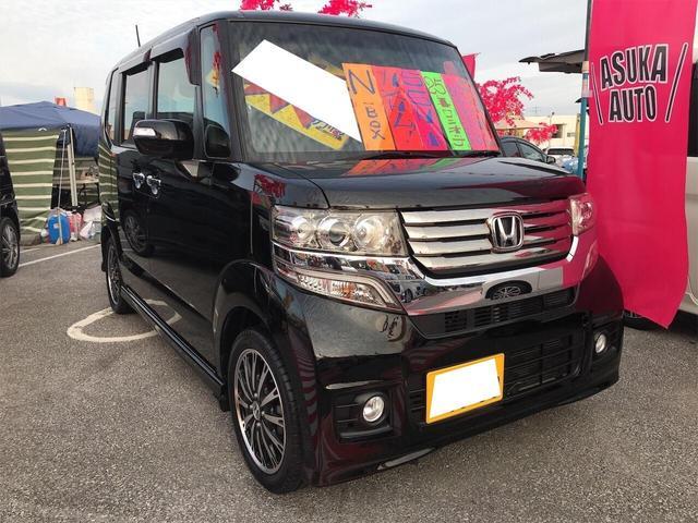 沖縄の中古車 ホンダ N-BOXカスタム 車両価格 105万円 リ済別 2013(平成25)年 6.5万km クリスタルブラックパール