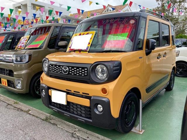 沖縄の中古車 マツダ フレアワゴンタフスタイル 車両価格 154万円 リ済別 2019(令和1)年 1.8万km アクティブイエローII