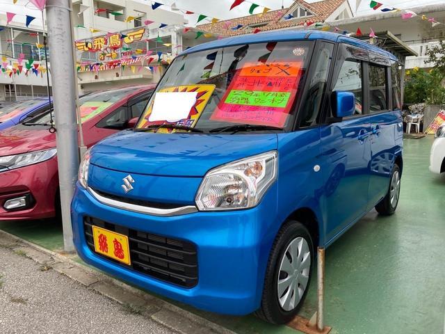 沖縄の中古車 スズキ スペーシア 車両価格 97万円 リ済別 2017(平成29)年 3.6万km ブリスクブルーメタリック