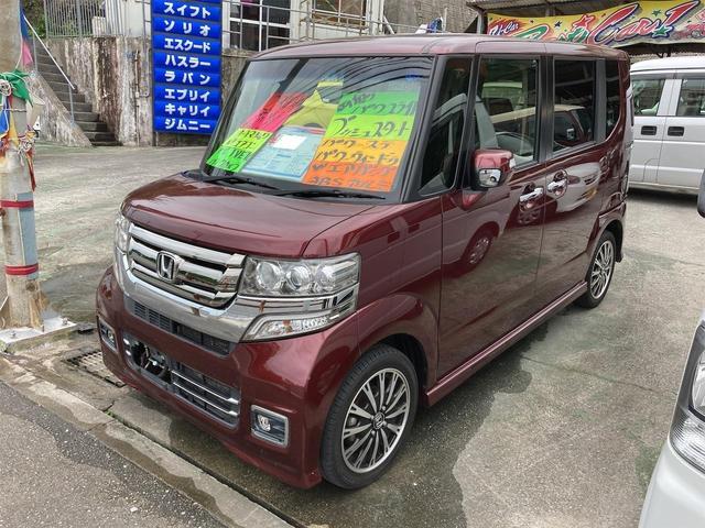 沖縄の中古車 ホンダ N-BOXカスタム 車両価格 87万円 リ済込 2016(平成28)年 13.2万km ダークレッド