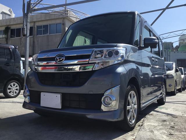 沖縄県浦添市の中古車ならタント カスタムX SA フルセグTV・ナビ・プッシュエンジンスタート・スマートキー・左側パワースライドドア・オートエアコン・ドアミラーウィンカー