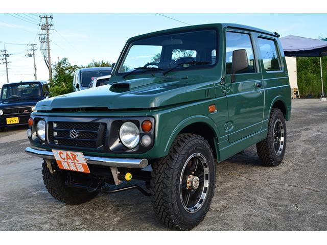 沖縄県島尻郡南風原町の中古車ならジムニー ワイルドウインド アーモンドグリーンに色替え、MTタイヤ新品、本土中古車