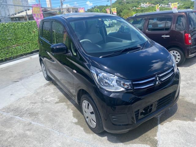 沖縄の中古車 三菱 eKワゴン 車両価格 64.8万円 リ済込 2018(平成30)年 2.6万km ブラックマイカ