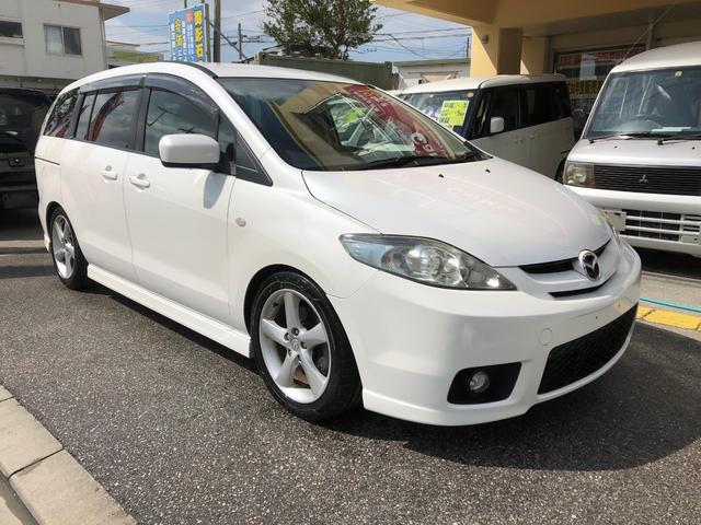 沖縄の中古車 マツダ プレマシー 車両価格 29万円 リ済込 平成17年 16.7万km パールホワイト