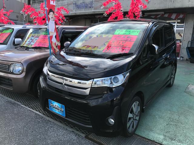 沖縄の中古車 三菱 eKカスタム 車両価格 55万円 リ済込 2013(平成25)年 5.9万km ブラック