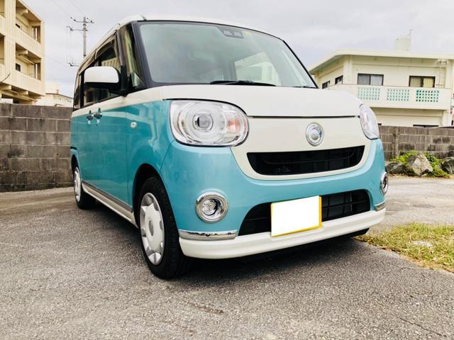 沖縄の中古車 ダイハツ ムーヴキャンバス 車両価格 168万円 リ済込 平成30年 0.3万km ブルー