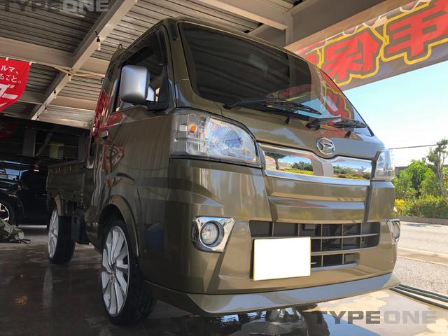沖縄県うるま市の中古車ならハイゼットトラック ジャンボ 2年保証 社外エアロ 社外17インチアルミタイヤ新品 ナビ Bluetooth 本土車