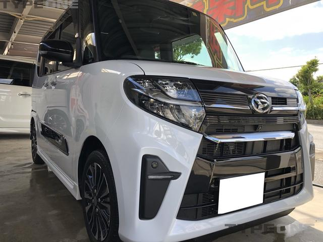 沖縄県うるま市の中古車ならタント カスタムRS 最上級グレード スマートクルーズパック&パノラマパック搭載 N225スタイリッシュ 9インチナビ パノラマカメラ オプション2トンカラー 新車保証継承