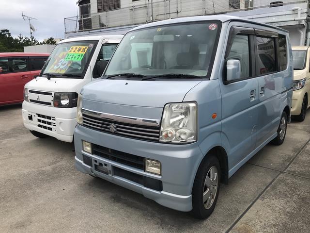 沖縄の中古車 スズキ エブリイワゴン 車両価格 35万円 リ済別 2006(平成18)年 15.0万km ライトブルーM