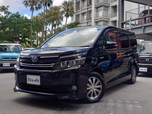 沖縄県の中古車ならヴォクシー ハイブリッドV OP5年保証対象車 トヨタ純正SDナビ(フルセグ・SD・Bluetooth) 片側パワースライドドア 置くだけ充電