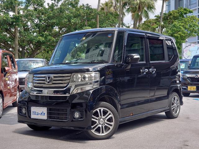 沖縄県の中古車ならN-BOXカスタム G・Aパッケージ OP5年保証対象車 両側パワ-スライドドア フリップダウンモニター 純正SDナビ(Bluetooth) オートライト