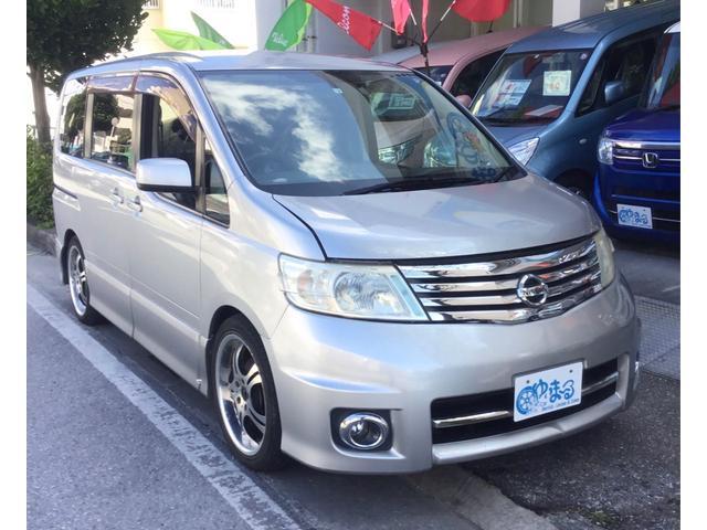 沖縄県浦添市の中古車ならセレナ ハイウェイスター 左パワースライドドア・ナビ・ワンセグ・ETC・CD・DVD・オートエアコン・フルフラット・ウォークスルー・3列シート・HID・車検整備付・保証付