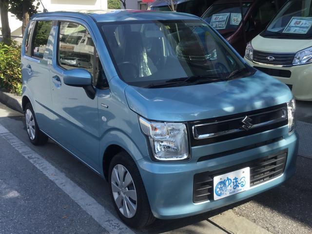 沖縄県浦添市の中古車ならワゴンR ハイブリッドFX アイドリングストップ・ナビ・バックカメラ・ETC・USB入力端子・内地仕入れ・キーレスエントリー・シートヒーター・純正ホイール・車検整備付き・1年保証付き
