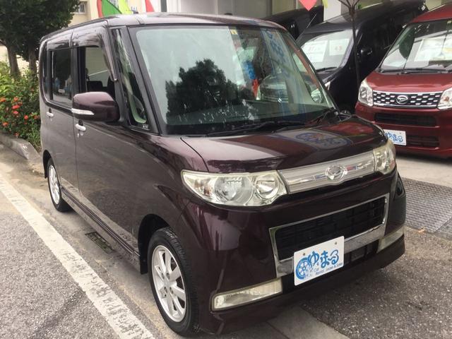 沖縄県浦添市の中古車ならタント カスタムX オプションカラー・キーレスエントリー・フォグランプ・HID・オートエアコン・AUX・禁煙車・ベンチシート・CD・ドアミラーウインカー・車検整備付き・保証付き