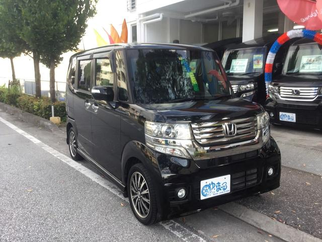 沖縄県の中古車ならN-BOXカスタム G ターボSSパッケージ オートクルーズコントロール 両側パワースライドドア 純正ナビ バックカメラ Bluetooth フルセグ プッシュスタート HIDヘッドライト オートライト アイドリングストップ 車検整備付 保証付