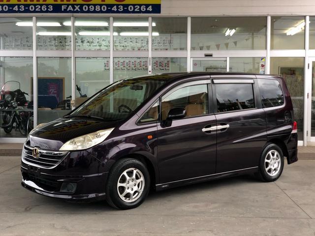沖縄の中古車 ホンダ ステップワゴン 車両価格 38万円 リ済別 2005(平成17)年 17.2万km ブラック