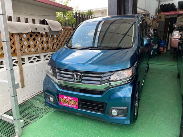 沖縄県の中古車ならN-WGNカスタム G・ターボパッケージ スマートキー プッシュスタート 衝突軽減システム 純正ギャザーズナビ ワンセグTV Bluetooth ハーフレザーシート