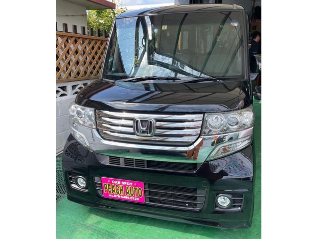沖縄県の中古車ならN-BOXカスタム G・ターボパッケージ スマートキー プッシュスタート ナビ TV Bluetooth 両側パワースライドドア 純正アルミ