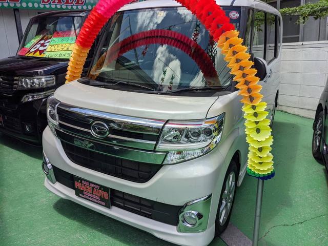 沖縄県の中古車ならタント カスタムX スマートキー プッシュスタート アイドリングストップ 左パワースライドドア ナビ TV Bluetooth
