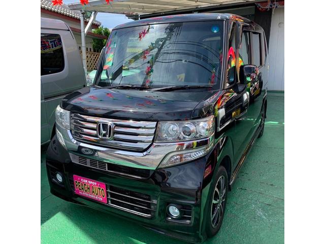 沖縄県沖縄市の中古車ならN-BOX+カスタム G スマートキー プッシュスタート 両側スライドドア 純正ナビ ワンセグTV Bluetooth バックカメラ