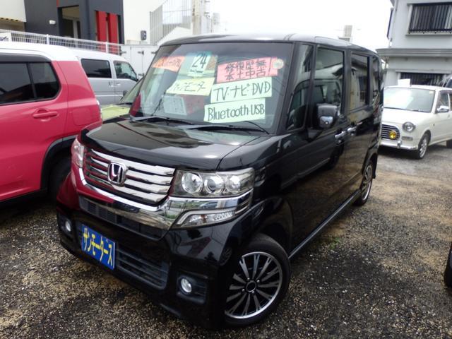 沖縄の中古車 ホンダ N-BOX+カスタム 車両価格 82万円 リ済込 2012(平成24)年 8.6万km ブラック