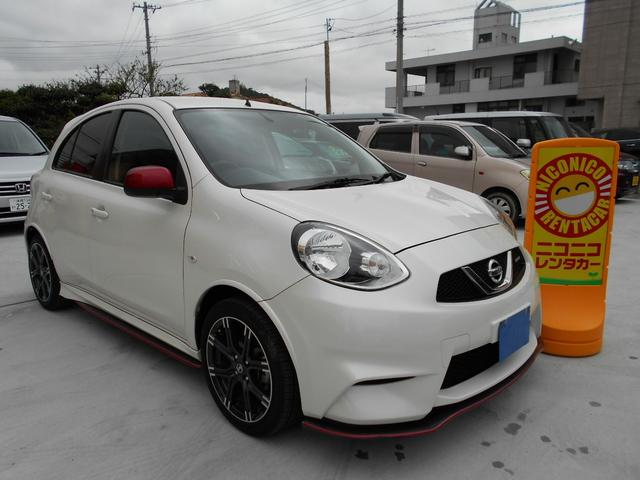 沖縄の中古車 日産 マーチ 車両価格 89万円 リ済込 平成27年 7.5万km ホワイトパール