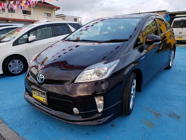 沖縄の中古車 トヨタ プリウス 車両価格 105万円 リ済込 2012(平成24)年 8.6万km ダークパープルM